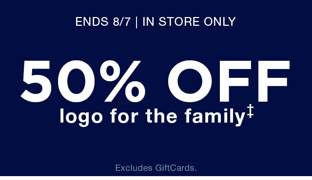 50% OFF logo for the family‡